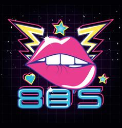 Lips pop art eighties style vector