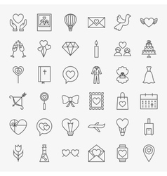 Love Heart Line Icons Set vector