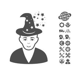 Magic Master Icon With Tools Bonus vector image