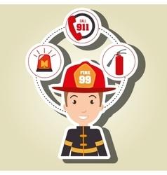 Man firefighter extinguisher vector