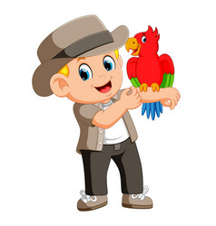 man the birds trainer with doing tricks parrot vector image