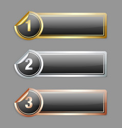 Metallic sticker banners vector image
