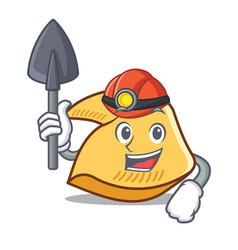 Miner fortune cookie mascot cartoon vector
