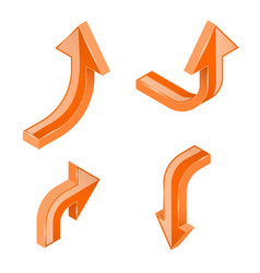 orange 3d isometric arrows vector image