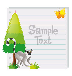 Paper template with meerkat and tree vector
