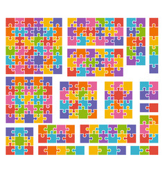 Parts of puzzles on white background in colored vector