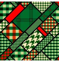 Patchwork pattern with green plaid patches vector image