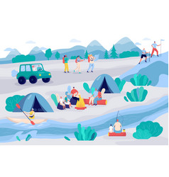 people camping and hiking in nature vector image