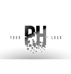ph p h pixel letter logo with digital shattered vector image