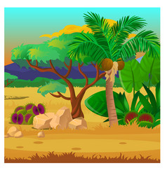 picturesque landscape with a coconut palm tree vector image