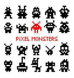 Pixel space monsters vector