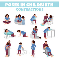 Poses in childbirth birth pains relief labor pains vector