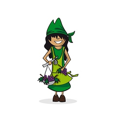 Profession farmer woman cartoon figure vector