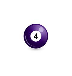 Purple billiard ball number 4 vector