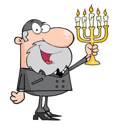 Rabbi Man Holding Up A Menorah vector
