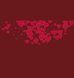 Red heart love confettis valentines day semicirc vector