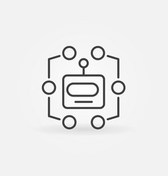 robot head line icon machine learning vector image