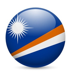 Round glossy icon of marshall islands vector image