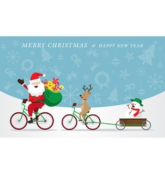 Santa Claus Reindeer Snowman Cycling Bicycles vector