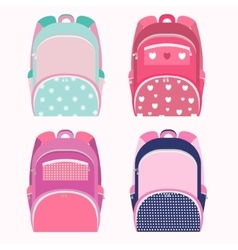 School backpacks for girl collection isolated on vector image