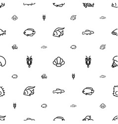 seafood icons pattern seamless white background vector image