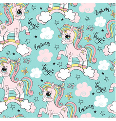 Seamless pattern with cute unicorn vector