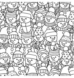 Seamless pattern with lots funny snowmen vector