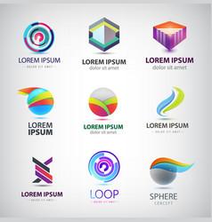 set abstract logos geometric origami vector image