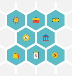set of economy icons flat style symbols with court vector image