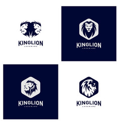 Set of lions logo design concept king lions logo vector