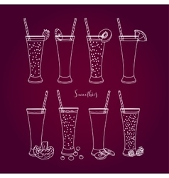 Set smoothies with different Ingredients vector image