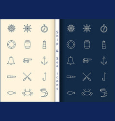 shipsea line icons vector image