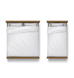 Single and double beds with white sheet linen vector