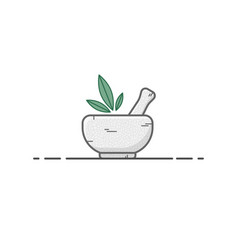 Stone mortar with leafs vector