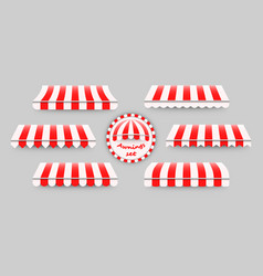 striped red and white awnings set vector image