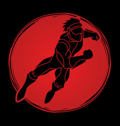 Superhero flying action cartoon superhero man vector