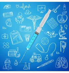 syringe and hand draw medicine icon vector image