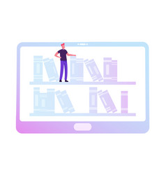 Tiny man stand at tablet with books on bookshelves vector