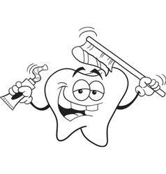 Tooth with toothbrush vector image