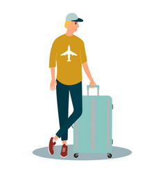 tourist man with a suitcase waiting his flight at vector image