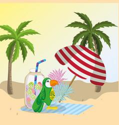 tropical beach scenery theme cartoon vector image