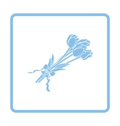Tulips bouquet icon with tied bow vector image