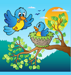 Two blue birds with tree branch vector