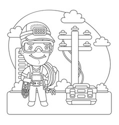 utility worker coloring page vector image