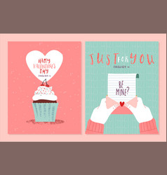 valentines day cute hand drawn love card set vector image