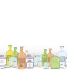 Water color jars border vector