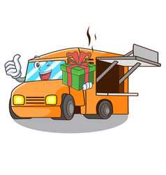 with gift food truck festival on shape cartoon vector image