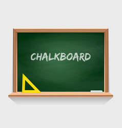 wooden school chalkboard with green background vector image