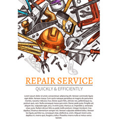 Work tools poster for repair service vector