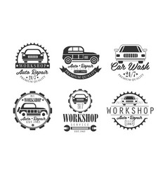workshop auto repair service premium retro labels vector image